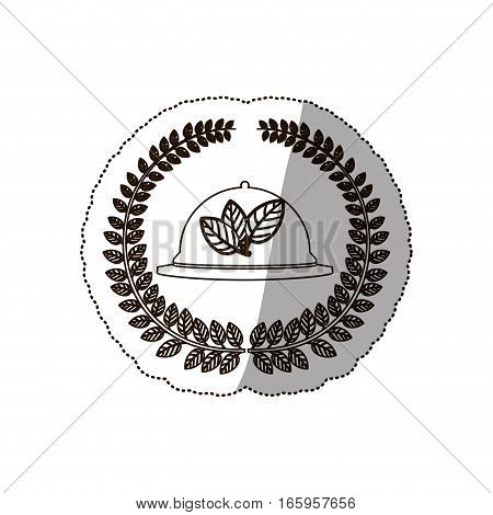 sticker medium shade of arch of leaves with tableware cover vector illustration