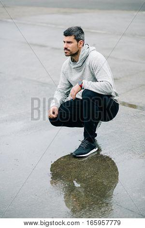 Man Ready For Urban Winter Running