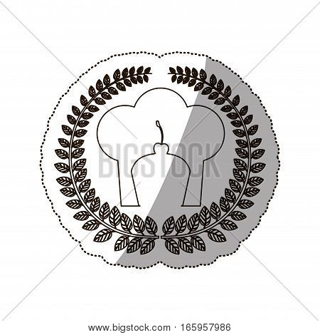 sticker medium shade of arch of leaves with chefs hat and cupcake vector illustration
