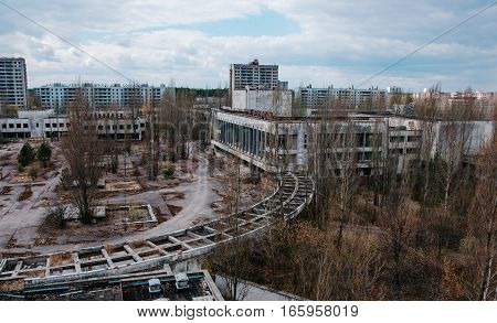 Chernobyl, Ukraine - April 24, 2015: House Of Culture Energetik At Chernobyl City, Ukraine. Abadoned