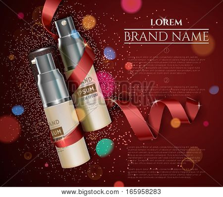 Cosmetic cream for face skin concept. Exquisite cosmetic ads. Vector illustration.