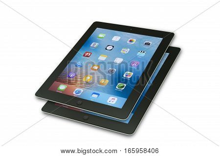 TURKEY, Mersin JANUARY 01, 2017: Black Apple Tablet iPad isolated on white background. 3rd generation of tablet was presented under the name The New iPad on presentation by Apple in San Francisco.
