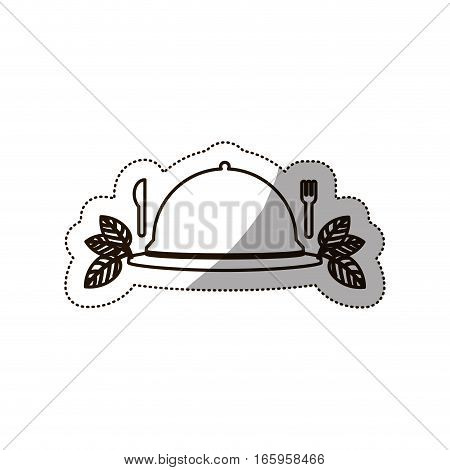 sticker medium shade of tableware cover with cutlery vector illustration