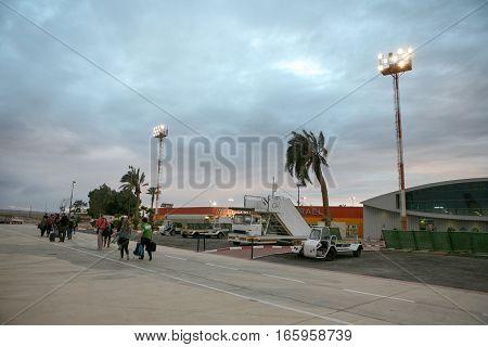 EILAT ISRAEL - NOVEMBER 30 2015: The Eilat Ovda airport in the Negev Desert at dusk near to Eilat city Israel