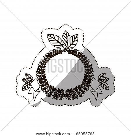 sticker medium shade of crown leaves with label vector illustration