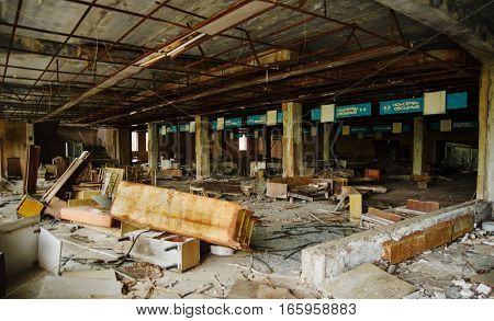 Chernobyl, Ukraine - April 24, 2015: Supermarket Shop At Chernobyl Exclusion Zone With Ruins Of Aban