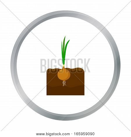 Onion icon cartoon. Single plant icon from the big farm, garden, agriculture cartoon. - stock vector