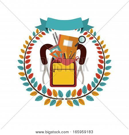 colorful olive crown with ribbon and school supplies in briefcase vector illustration