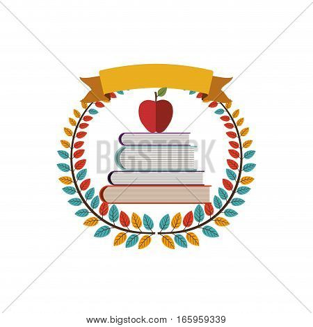 colorful olive crown with ribbon and school books with apple vector illustration