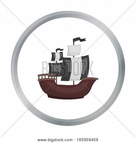 Pirate ship icon in cartoon style isolated on white background. Pirates symbol vector illustration.