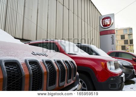 Prague, Czech Republic - January 20: Jeep And Fiat Group Company Logo On Czech Dealership Building O