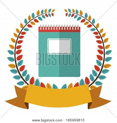colorful olive crown with ribbon and spiral notebook vector illustration