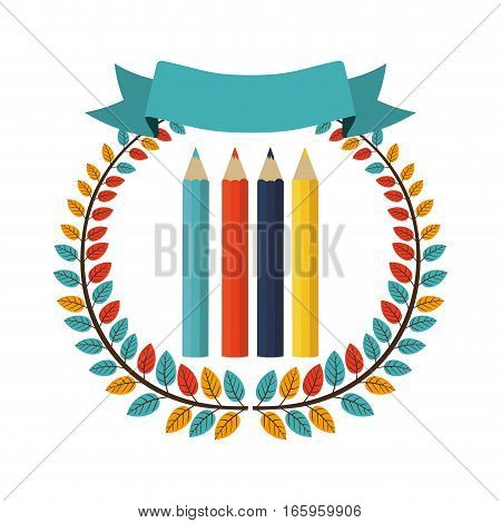 colorful olive crown with ribbon and color pencils vector illustration