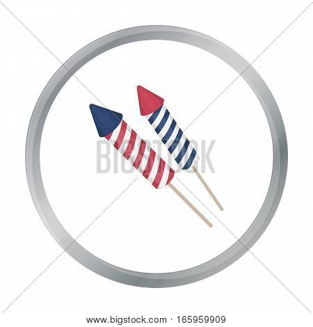 Patriotic fireworks icon in cartoon style isolated on white background. Patriot day symbol vector illustration.