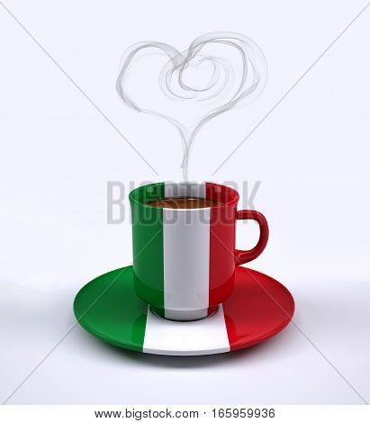 Coffee Cup With Italy Flag And Heart Smoke