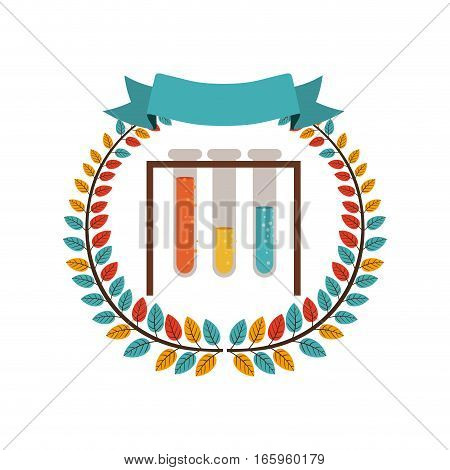 colorful olive crown with ribbon and test tube vector illustration