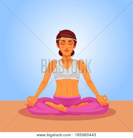 illustration of a girl yoga in the lotus position. The girl is engaged in yoga indoors.
