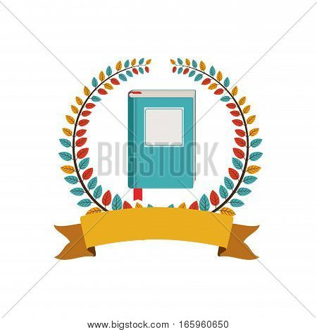 colorful olive crown with ribbon and phonebook vector illustration