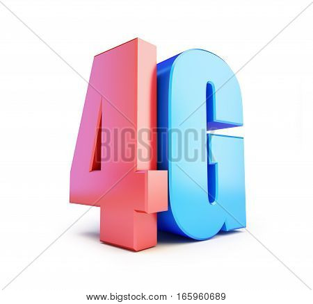 4G sign 4G cellular high speed data wireless connection. 3d Illustrations on white background