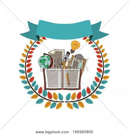 colorful olive crown with ribbon and school supplies vector illustration