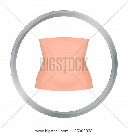Abdomen icon in cartoon style isolated on white background. Part of body symbol vector illustration.
