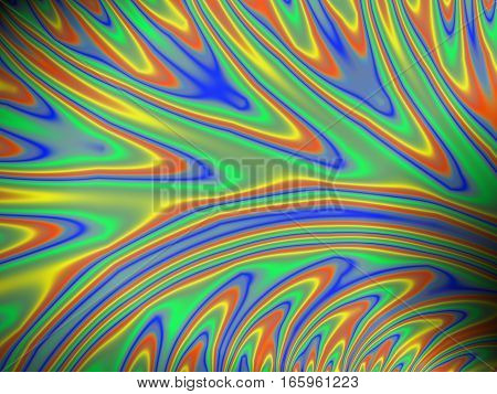 Smooth flowing contour lines of a digital fractal image in green blue orange and yellow resembling an oil slick