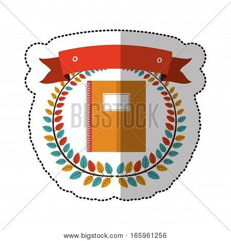 middle shadow sticker with colorful olive crown with ribbon and notebook vector illustration