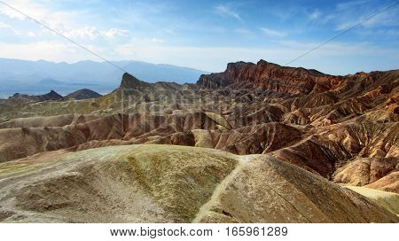 View of the erosional landscape in Zabriskie Point - Death Valley, California