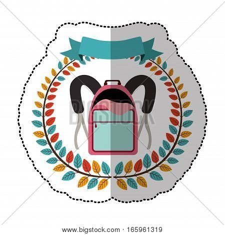 middle shadow sticker with colorful olive crown with ribbon and school briefcase vector illustration