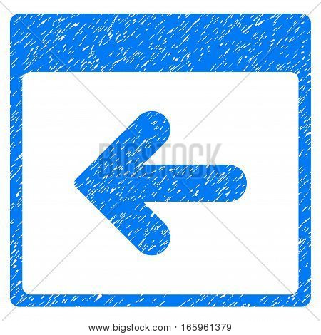 Previous Calendar Day grainy textured icon for overlay watermark stamps. Flat symbol with unclean texture. Dotted vector blue ink rubber seal stamp with grunge design on a white background.