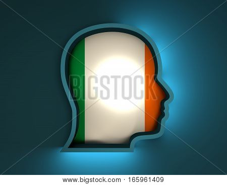 Abstract illustration of head silhouette with Ireland national flag inside. 3D rendering. Neon light
