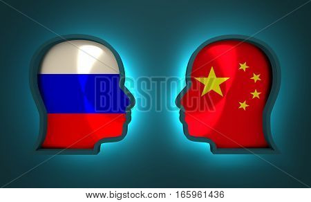 Image relative to politic and economic relationship between Russia and China. National flags inside the heads of the businessmen. Teamwork concept. 3D rendering. Neon light