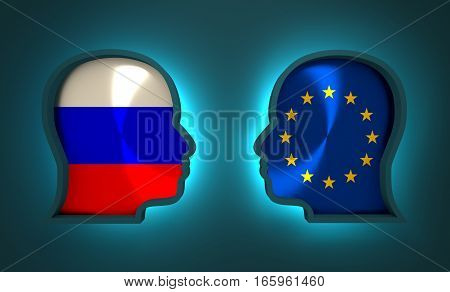 Image relative to politic and economic relationship between Russia and Europe. National flags inside the heads of the businessmen. Teamwork concept. 3D rendering. Neon light