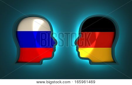 Image relative to politic and economic relationship between Russia and Germany. National flags inside the heads of the businessmen. Teamwork concept. 3D rendering. Neon light