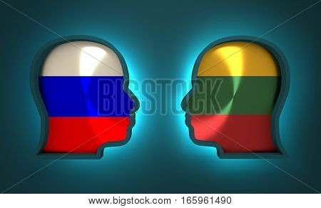 Image relative to politic and economic relationship between Russia and Lithuania. National flags inside the heads of the businessmen. Teamwork concept. 3D rendering. Neon light