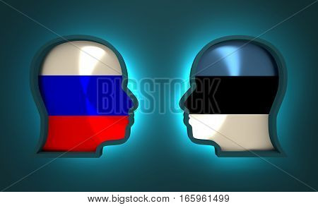 Image relative to politic and economic relationship between Russia and Estonia. National flags inside the heads of the businessmen. Teamwork concept. 3D rendering. Neon light