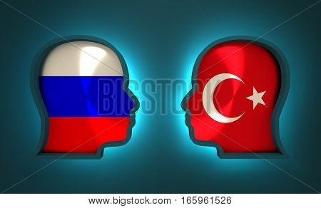 Image relative to politic and economic relationship between Russia and Turkey. National flags inside the heads of the businessmen. Teamwork concept. 3D rendering. Neon light