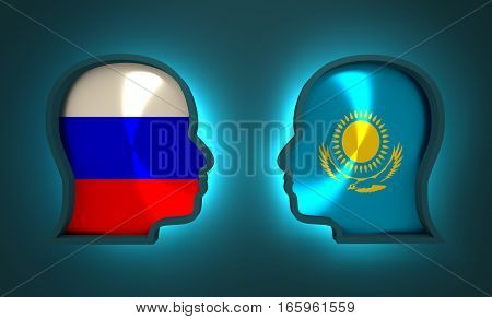 Image relative to politic and economic relationship between Russia and Kazakhstan. National flags inside the heads of the businessmen. Teamwork concept. 3D rendering. Neon light