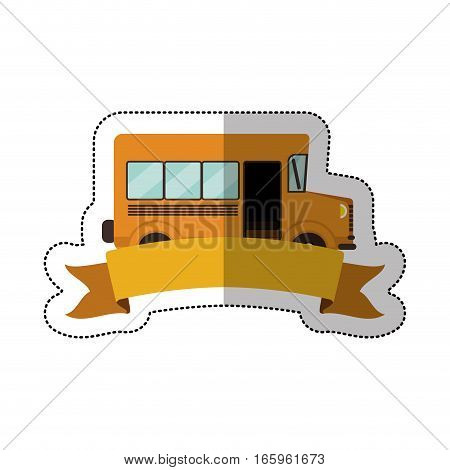 middle shadow sticker with colorful school bus with ribbon vector illustration