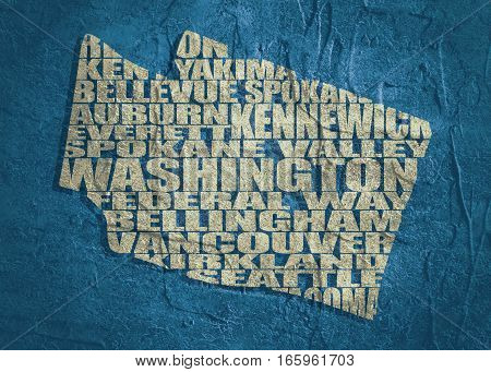 Word cloud map of Washington state. Cities list collage. Grunge texture