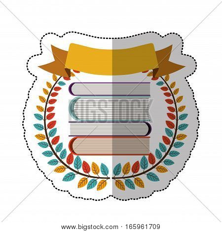 middle shadow sticker with colorful olive crown with ribbon and school books vector illustration