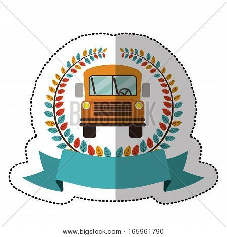 middle shadow sticker with colorful olive crown with ribbon and school bus vector illustration