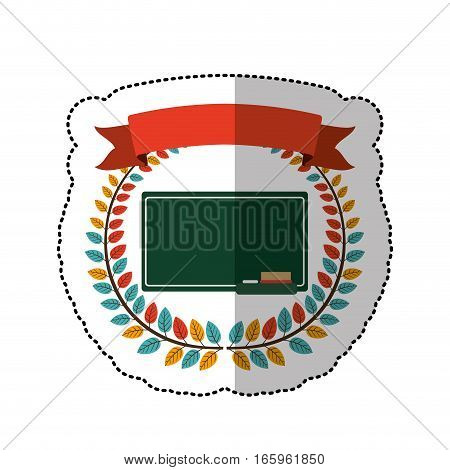 middle shadow sticker with colorful olive crown with ribbon and school slate vector illustration
