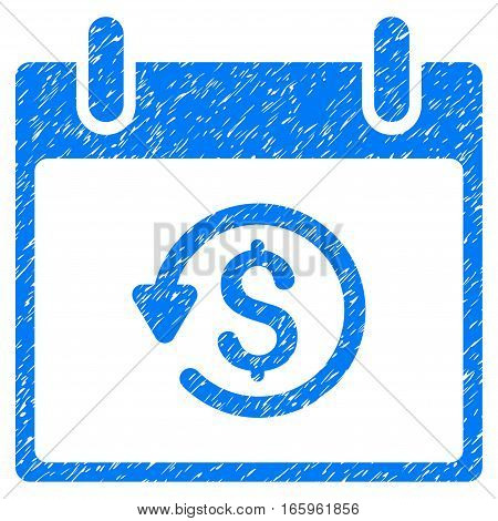 Refund Calendar Day grainy textured icon for overlay watermark stamps. Flat symbol with dirty texture. Dotted vector blue ink rubber seal stamp with grunge design on a white background.