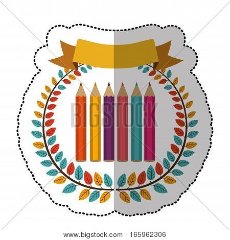 middle shadow sticker with colorful olive crown with ribbon and colored pencils vector illustration