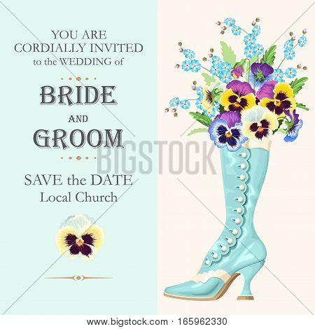 Vector wedding invitation with beautiful pansies and vintage shoe