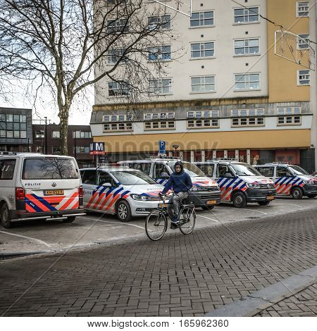 AMSTERDAM, NETHERLANDS - JANUARY 17, 2017: Cars of police near area New Market. January 17, 2017 in Amsterdam - Netherlands.
