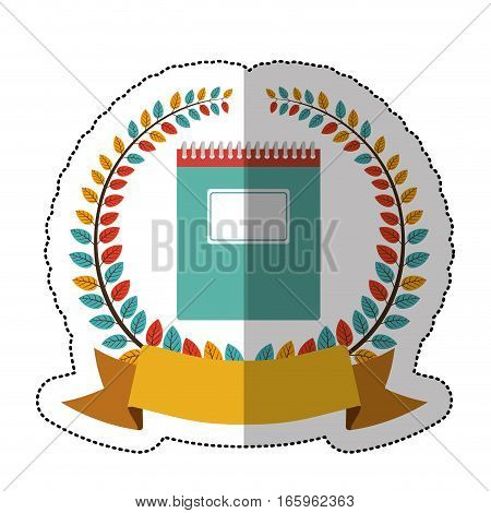 middle shadow sticker with colorful olive crown with ribbon and spiral notebook vector illustration