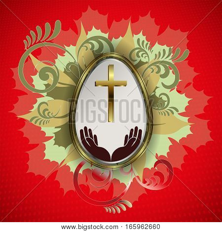 Design silhouette Easter eggs with a gold border, with a cross and hands