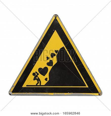 Caution love. Save heart. Heart fall. Warning danger. Yellow triangle. Sign for collage on white background